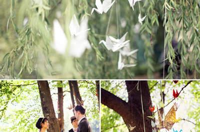 Sehen Sie kreative Hochzeitsdekoration aus Papier