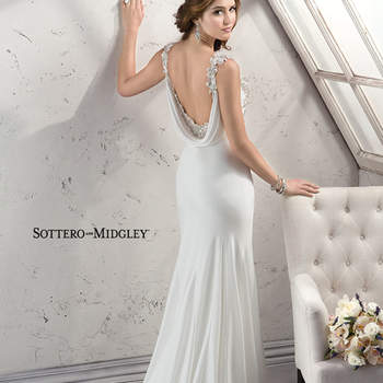 Vintage romance is found in this Makoe satin sheath with dramatic dropped cowl neck, adorned with Swarovski crystals, while crystal embellishments accent the bodice and shoulder straps. Finished with side zipper.