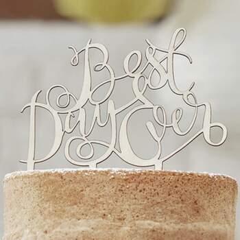 Cake Topper Meilleur Jour Jamais Bois - The Wedding Shop !