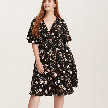 Multi-Color Floral Print Wrap Dress. Credits: Torrid