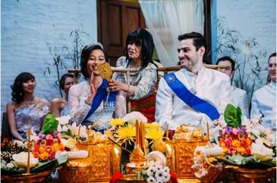 Le mariage franco-cambodgien d'Elisa + Hadrien : Une cérémonie traditionnelle khmère et une déco DIY sur le thème du voyage