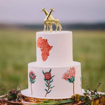 Inspiração para bolos de casamento de 2 andares | Créditos: Charlene Schreuder Photography