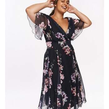 Scarlett Jo Navy Angel Sleeve Floral Midi Dress, Evans