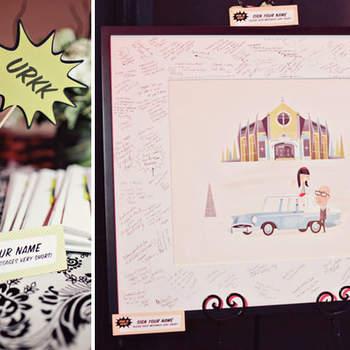 Decoração de casamento inspirada em comics.