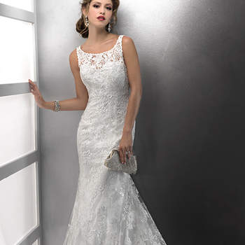 Elegantly sophisticated, the delicate scoop illusion neckline of this romantic sheath renders this gown unforgettable. Hand beaded lace motifs dance across tulle over Demir Stretch Satin all the way to the hemline, while covered buttons add the perfect finish to the zipper back closure. <img height='0' width='0' alt='' src='http://ads.zankyou.com/mn8v' />