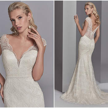 "This chic, sheath wedding dress features a tulle overlay of lace motifs accented in clear sequins creating illusion cap-sleeves, an illusion V-over plunging sweetheart neckline, and an illusion V-back. A delicately beaded belt and subtle ruching along the closure completes this vintage-inspired wedding gown. Finished with covered buttons over zipper closure.  <a href=""https://www.maggiesottero.com/sottero-and-midgley/ramira/11225?utm_source=zankyou&amp;utm_medium=gowngallery"" target=""_blank"">Sottero and Midgley</a>"