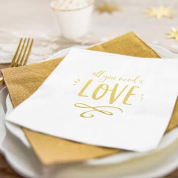 """Servilletas """"All you need is Love"""" Oro 20 unidades- Compra en The Wedding Shop"""