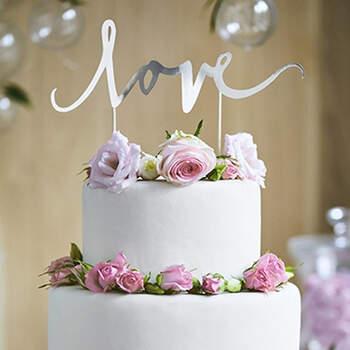 Topper tarta nupcial plateado LOVE- Compra en The Wedding Shop