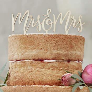 Topper tarta nupcial de madera Sra. y Sra.- Compra en The Wedding Shop