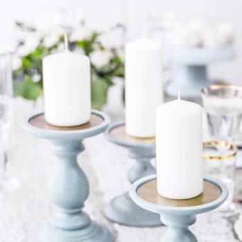 Vela Decorativa Blanca Opaco Pequeña 6 unidades- Compra en The Wedding Shop