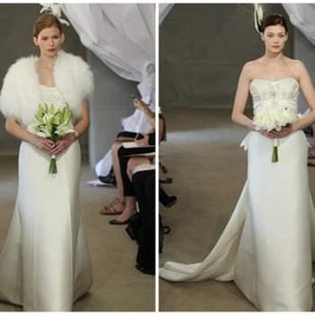 Vestidos de novia corte imperio con cola larga.