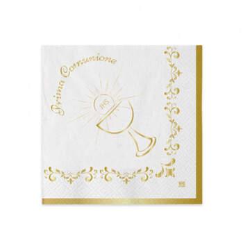 Servilletas Primera Comunión Metal Dorado 20 unidades- Compra en The Wedding Shop