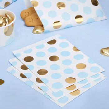 Sobres de papel con lunares azules y dorados 25 unidades- Compra en The Wedding Shop
