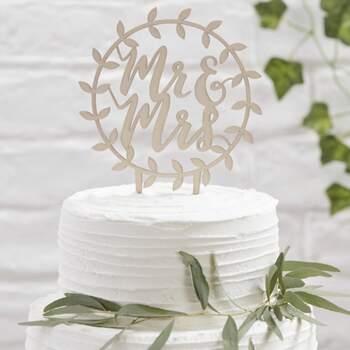 Cake Topper Guirlande En Bois Mr Et Mrs - The Wedding Shop !
