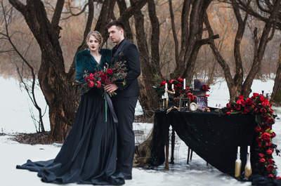 Шикарная свадьба в оттенках черного и марсала