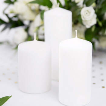 Vela decorativa blanca opaco grande 6 unidades- Compra en The Wedding Shop