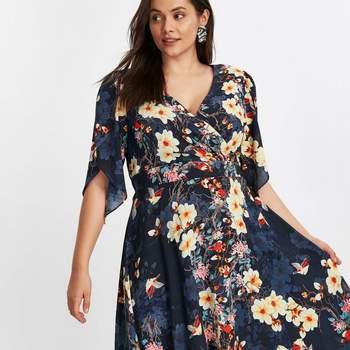 Scarlett  Jo Navy Blue Floral Print Hanky Hem Dress, Evans