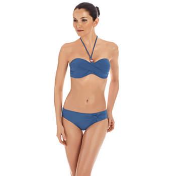 Bikini con reggiseno a fascia intrecciato e annodato al collo