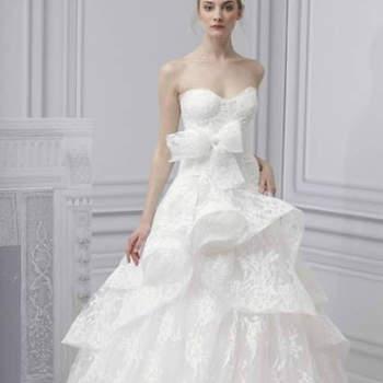 Vestido de noiva com saia peplum da colecção Monique Lhuillier Primavera 2013