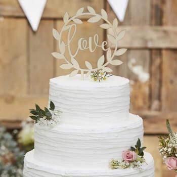 Figura tarta nupcial inscripción Love de madera- Compra en The Wedding Shop