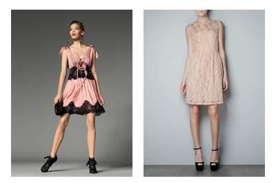 Per le giovanissime proponiamo il rosa e il pizzo di Dolce e Gabbana e quello di H&M. Fot:o dolceegabbana.it e hm.com
