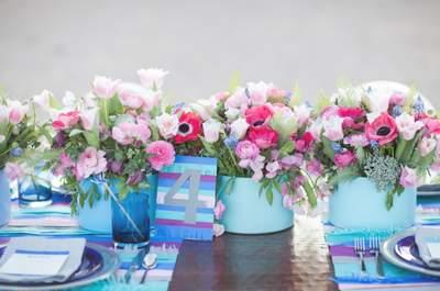 Hochzeitsdekoration: Blaues auf dem Tisch, um den Hochzeitsbrauch zu pflegen!