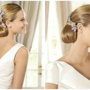 Accessori per capelli impreziositi di pietre e cristalli. Foto www.pronovias.com