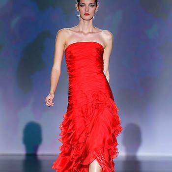 Robe bustier rouge. Barcelona Bridal Week/ Cibeles Madrid Novias