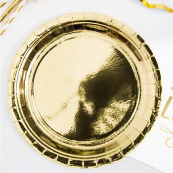 Platos metalizados dorados 6 piezas- Compra en The Wedding Shop