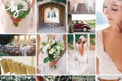 Collage de inspiración para una boda con detalles clásicos en un lugar rústico