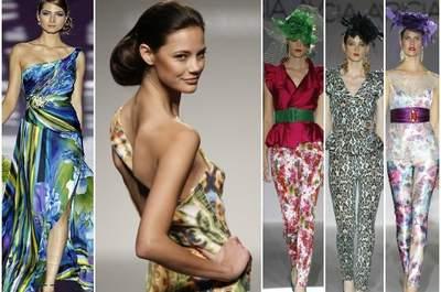 Vestidos de fiesta con estampados de color, colecciones 2013. Foto: Barcelona Bridal Week/ IFEMA
