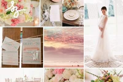 Collage de inspiración para tener una boda de ensueño en colores pastel