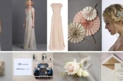 Collage de inspiración para una boda con estilo antiguo o antique