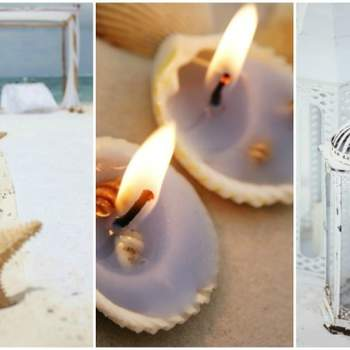 Credits: Leigh Skaggs Photography& Seashells with candles close up via Shutterstock&  Sara & Rocky Photography