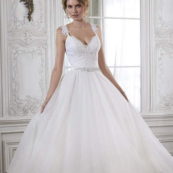 "Beautifully detailed with lace and a dazzling Swarovski crystal belt, the fitted bodice of this ballgown cascades into a romantic tulle skirt. Complete with V-neckline and cap-sleeves. Available with optional beaded belt or grosgrain ribbon belt. Finished with crystal button over zipper back closure.   <a href=""http://www.maggiesottero.com/dress.aspx?style=5MS140"" target=""_blank"">Maggie Sottero Spring 2015</a>"