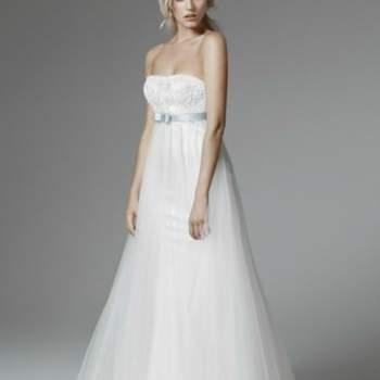 Abito taglio impero con gonna in tulle...perfetto anche per una sposa con pancione!