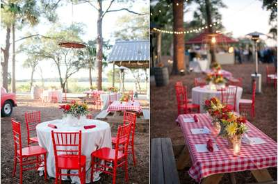 4 Styles for 4 settings: A rustic outdoor picnic wedding