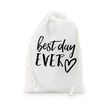 Bolso de algodón 'Best Day Ever' 12 unidades - Compra en The Wedding Shop