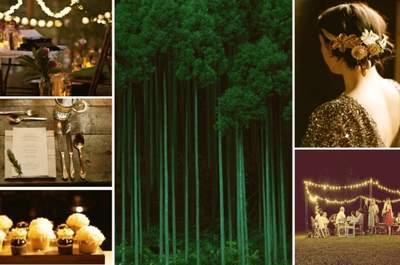 Collage de inspiración para decorar una boda de noche en la naturaleza