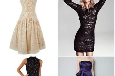 Proposte per le invitate al matrimonio di Capodanno. Dall'alto a sinistra Fix Design, Mango, Motivi e Zara.