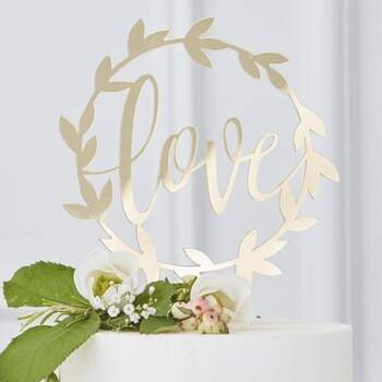 Cake Topper Love Mariage D'or - The Wedding Shop !