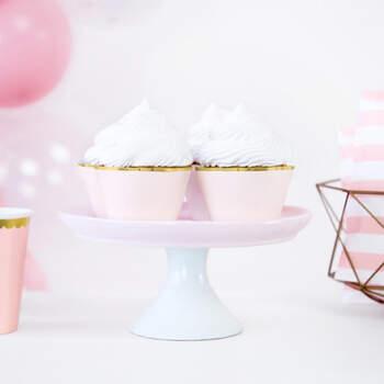 Envoltorio de cupcake rosa y oro 6 piezas - Compra en The Wedding Shop