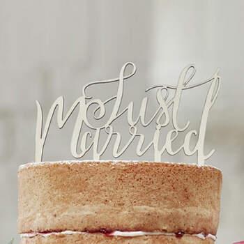 Topper para tarta nupcial Just Married- Compra en The Wedding Shop
