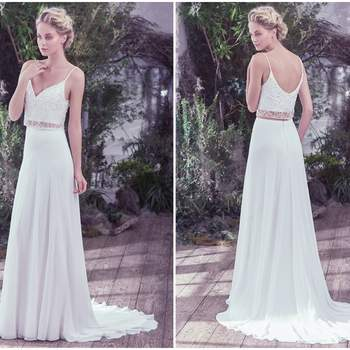 "Effortlessly chic, this Arlo chiffon and tulle two-piece wedding dress, with a Swarovski crystal and tonal bead embellished bodice overlay and sheer midriff, adds an ethereal twist to this classic sheath silhouette. Complete with a soft V-neckline and scoop back. Finished with zipper closure.  <a href=""https://www.maggiesottero.com/maggie-sottero/griffyn/9762"" target=""_blank"">Maggie Sottero</a>"