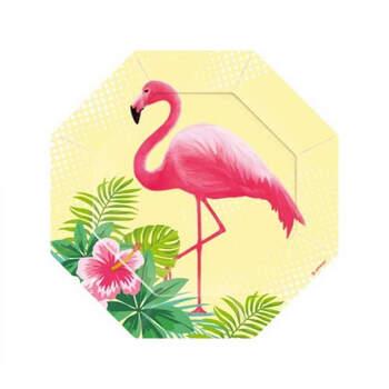 Plato octogonal flamingo paradise 6 pz- Compra en The Wedding Shop