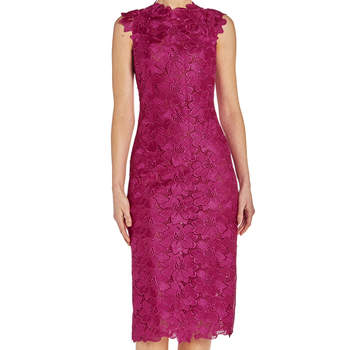 Floral lace sheath dress. Credits: Monique Lhuillier