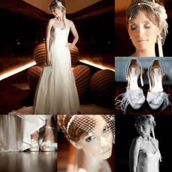 VERTRÄUMT. Ein schulterfreies Kleid mit transparenten Details an einer Schulter. Die Braut wirkt zart und verträumt mit einem Touch Vintage und Romantik. Die Frisur wird mit einem Haarnetz aus Perlen und Blumen verschönert. Weiße offene High Heels mit Feder-Details veredeln den Look. Eine schöne Braut. Foto: Anderson Marcello. Kleid: Carol Hungria (Brasilien)