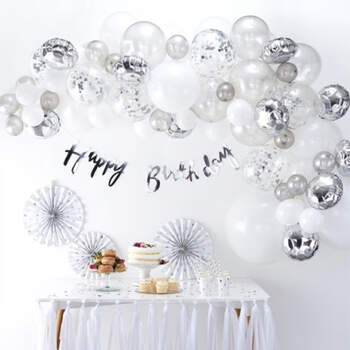 Arco de globos de plata 70 unidades- Compra en The Wedding Shop