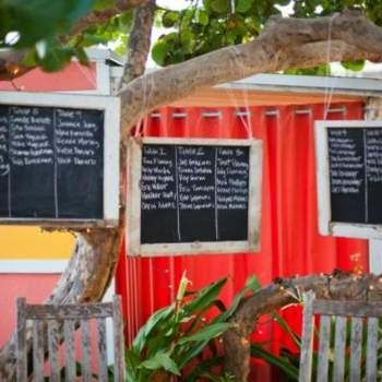 Pizarras con los nombres de los invitados y sus mesas escritos en ellas.