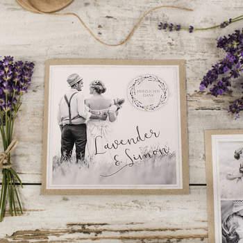 Hochzeitsdanksagung Lavender und Simon
